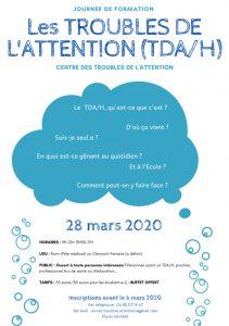 28/03/2020 : Journée de Formation sur les Troubles de l'Attention (TDA/H)