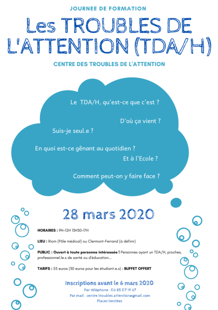 28/03/2020 : Journée de Formation sur les Troubles de l'Attention (TDA/H)